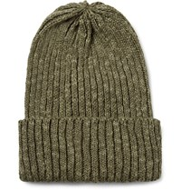 Beams Plus Ribbed Linen And Cotton Blend Beanie Army Green
