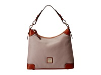 Dooney And Bourke Pebble Leather Hobo Oyster W Tan Trim Hobo Handbags Gray