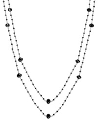Macy's Black Diamond Two Strand Station Necklace In 14K White Gold 20 Ct. T.W.