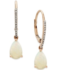 Macy's Opal 1 Ct. T.W. And Diamond Accent Drop Earrings In 14K Rose Gold White