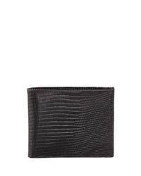 Neiman Marcus Lizard Slim Wallet Black