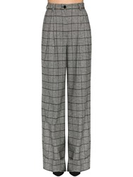 Dolce And Gabbana Wide Leg Prince Of Wales Pants Black