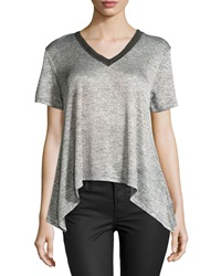 Dex Short Sleeve Mesh Knit V Neck Tee Charcoal Silver