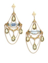 Anthony Camargo Sky Blue Topaz Yellow Quartz And 14K Yellow Gold Draped Chandelier Earrings Gold Topaz