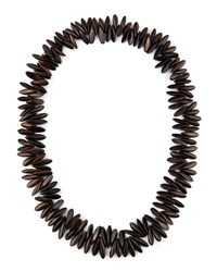 Long Wooden Spike Necklace Nest Jewelry Dark Brown