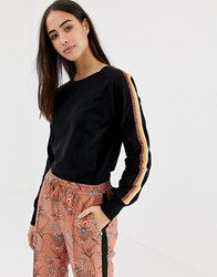 Maison Scotch Long Sleeved T Shirt With Glitter Sleeve Tape Black
