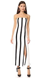 Diane Von Furstenberg Strapless Structured Midi Dress Ivory Black