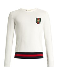 Gucci Badge Applique Cotton Sweater White