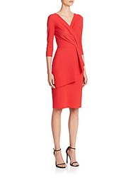 La Petite Robe Di Chiara Boni Stellina Three Quarter Sleeve V Neck Asymmetrical Peplum Dress Red