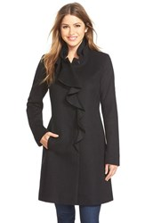 Petite Women's Dkny Ruffle Front Wool Blend Coat Black