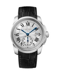 Calibre De Cartier Automatic Stainless Steel And Alligator Strap Watch Silver Black
