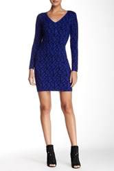 V Neck Pattern Sweater Dress Blue