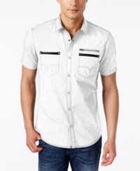 Inc International Concepts Men's Dare Zip Pocket Short Sleeve Shirt Only At Macy's White Pure