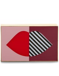 Lulu Guinness Multi 50 50 Stripe Lip Box Clutch Pink