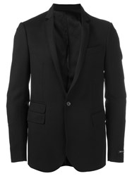 Les Hommes Quilted Elbow Blazer Black