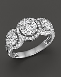 Bloomingdale's Diamond Triple Cluster Halo Ring In 14K White Gold 1.25 Ct. T.W.