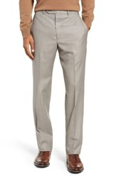 John W. Nordstrom Big And Tall Traditional Fit Flat Front Solid Wool Trousers Tan