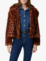 French Connection Analia Oversized Faux Fur Leopard Print Jacket Rhubarb Multi