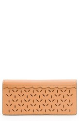 Frye Ilana Perforated Slim Leather Wallet Brown Light Tan
