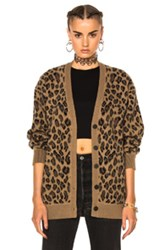 Alexander Wang Leopard V Neck Cardigan In Animal Print Neutrals Animal Print Neutrals