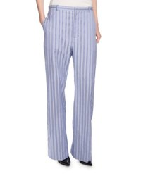Balenciaga Striped Wide Leg Cotton Pants Blue White Blue White