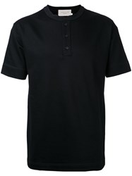 Factotum Button Neck T Shirt Men Cotton 48 Black