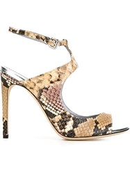 Pollini Snakeskin Effect Sandals Nude And Neutrals