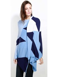 Johnstons Of Elgin Cashmere Geometric Intarsia Stole Blue