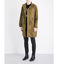 Saint Laurent Sweet Dreams Cotton Blend Parka Jacket Khaki