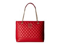 Love Moschino Quilted Tote With Chain Red Tote Handbags