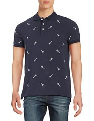 Brooks Brothers Embroidered Racket Polo Shirt Blue