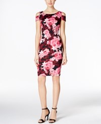 Connected Floral Print Cold Shoulder Sheath Dress Berry