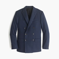 J.Crew Ludlow Double Breasted Suit Jacket In Heathered Italian Wool Flannel Night Shadow