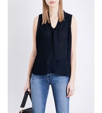Frame Pleated Chiffon Blouse Navy