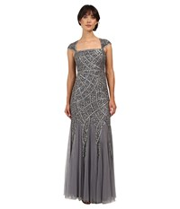 Adrianna Papell Cap Sleeve Envelope Beaded Gown Sterling Women's Dress Navy