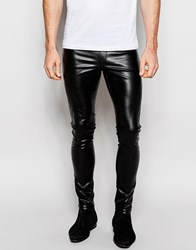 Asos Meggins In Faux Leather Black