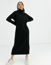 Bershka Roll Neck Sweater Dress In Black