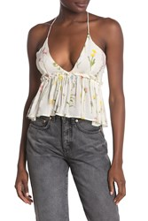 Wildfox Couture Floral Print V Neck Tank Top White