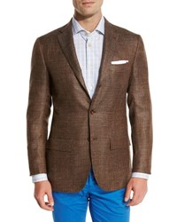 Kiton Cashmere Blend Three Button Sport Coat Brown