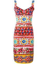 Dolce And Gabbana Mambo Print Fitted Dress