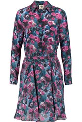 Haute Hippie Printed Silk Crepe Shirt Dress Purple