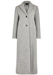 Isabel Marant Duard Grey Herringbone Felt Coat