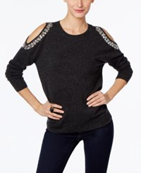 Inc International Concepts Petite Embellished Cold Shoulder Sweater Only At Macy's Grey