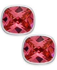 B. Brilliant Pink Cubic Zirconia Square Stud Earrings In Sterling Silver 22 1 2 Ct. T.W.