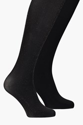 Boohoo Plain And Gold Sparkle Tights 2 Pack Black