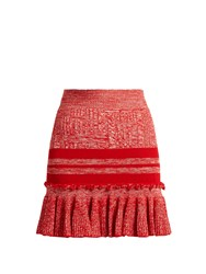 Alexander Mcqueen Ruffled Hem Striped Wool And Silk Blend Skirt Red