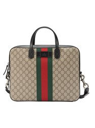 Gucci Web Gg Supreme Briefcase Leather Nylon Canvas Nude Neutrals
