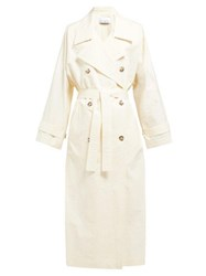 Raey Papery Cotton Blend Long Trench Coat Ivory