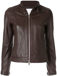 Loveless Fitted Leather Jacket Brown