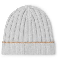 Brunello Cucinelli Contrast Tipped Ribbed Cashmere Beanie Gray